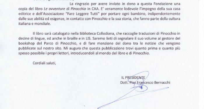 Lettera presidente Fondazione Collodi